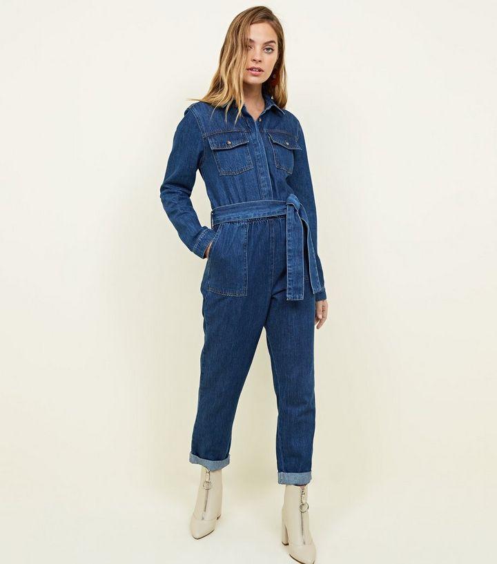 0d3b2a098490 Petite Blue Denim Long Sleeve Utility Jumpsuit