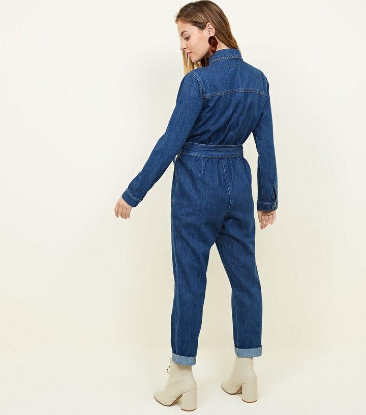ccaf9ac5a9c ... Petite Blue Denim Long Sleeve Utility Jumpsuit. ×. ×. ×. Shop the look