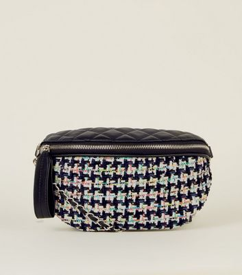 Black Quilted Bouclé Bum Bag