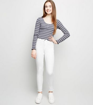 Girls White High Waist Super Skinny Jeans