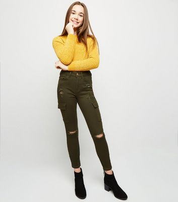 Girls Khaki Cargo Pocket Ripped Skinny Jeans