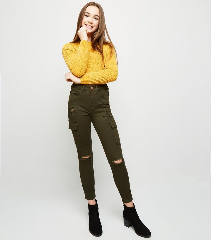 0000108b5ff Girls Khaki Utility Pocket Ripped Skinny Jeans | New Look