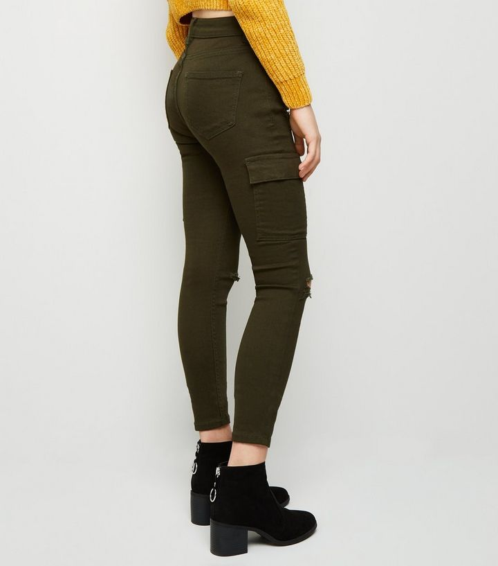 0e997133553 ... Girls Khaki Utility Pocket Ripped Skinny Jeans. ×. ×. ×. Shop the look