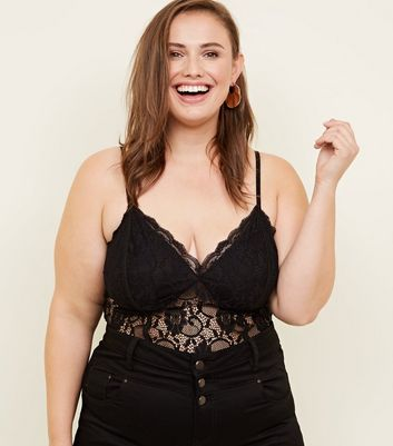 Curves Black Sweetheart Neck Lace Bodysuit