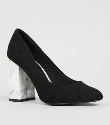Wide Fit Black Marble Effect Flare Heel Courts