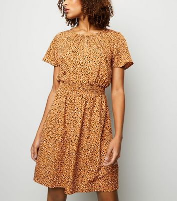 Tall Orange Elastic Waist Animal Spot Print Dress