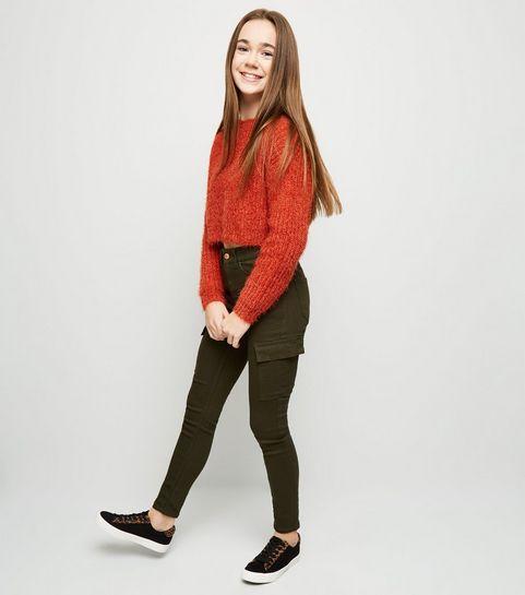 1283bf80b28c ... Girls Khaki Pocket Utility Skinny Jeans ...