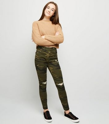 Girls Green Camo Ripped Skinny Jeans