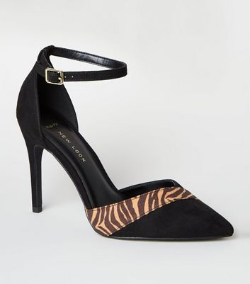 Black Tiger Print Panelled Court Shoes