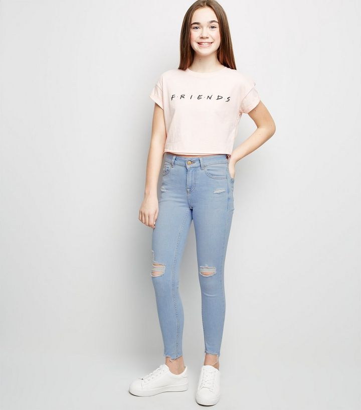 f3c50a5fc8 Girls Blue Bleach Wash Ripped Skinny Jeans