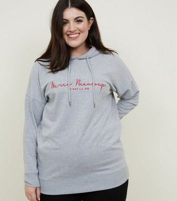 Curves Grey Merci Beaucoup Embroidered Hoodie