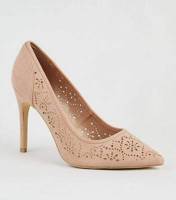 Wide Fit Nude Suedette Laser Cut Courts