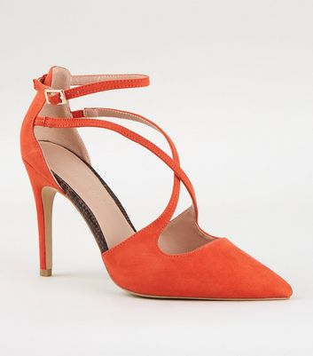 Wide Fit Orange Suedette Cross Strap Heels