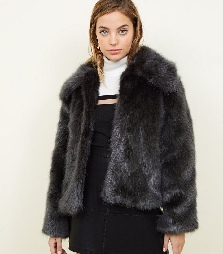 6ac59040369 Petite Dark Grey Faux Fur Jacket Add to Saved Items Remove from Saved Items