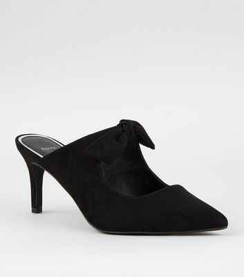 Wide Fit Black Suedette Pointed Bow Front Mules