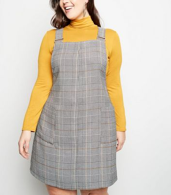Curves Black Check Pinafore Dress