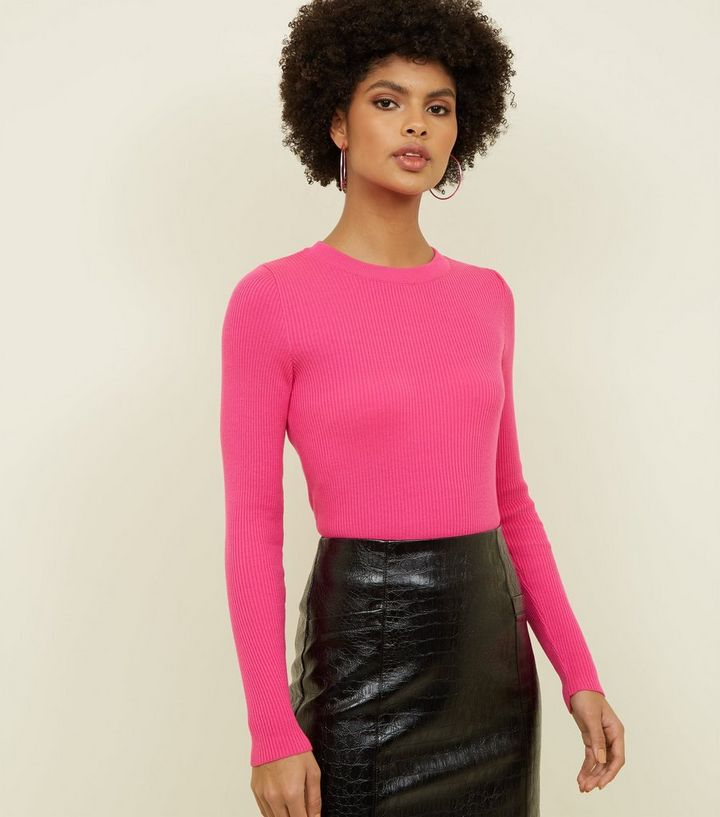 Bright Pink Neon Long Sleeve Ribbed Top New Look