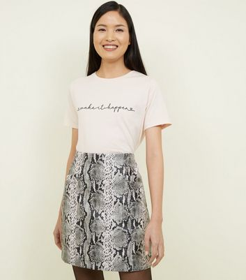 Pale Pink Make It Happen Flock Slogan T-Shirt