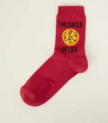 Burgundy Circle of Life Pizza Socks