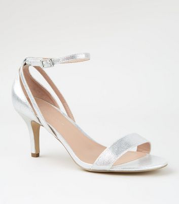 Wide Fit Silver Shimmer Low Heel Sandals