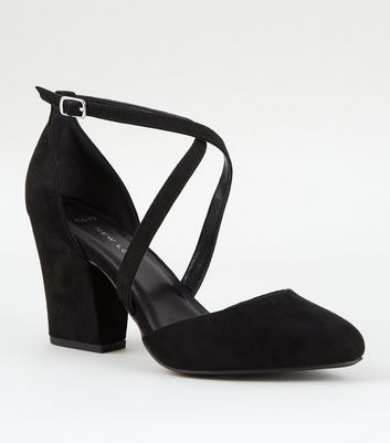 Wide Fit Black Suedette Cross Strap Block Heels
