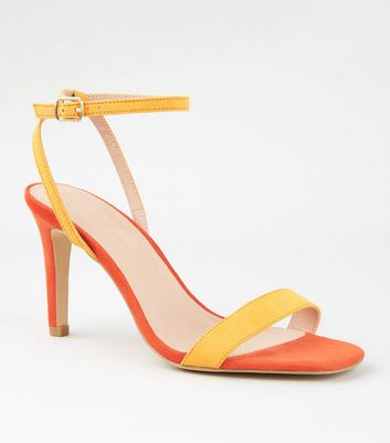 Wide Fit Orange and Yellow Stiletto Heel Sandals