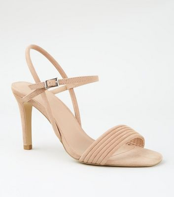 Wide Fit Nude Tube Strap Stiletto Sandals
