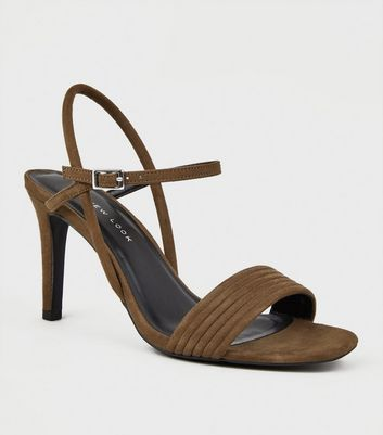 Wide Fit Khaki Tube Strap Stiletto Sandals