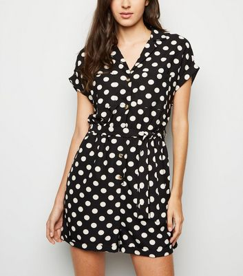 Black Spot Print Revere Collar Playsuit