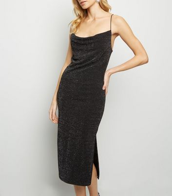 Black Glitter Cowl Neck Midi Dress