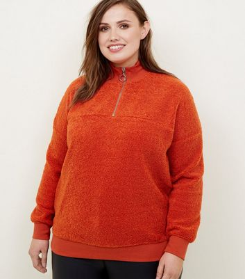 Curves Orange Borg Ring Zip Up Funnel Neck Sweatshirt