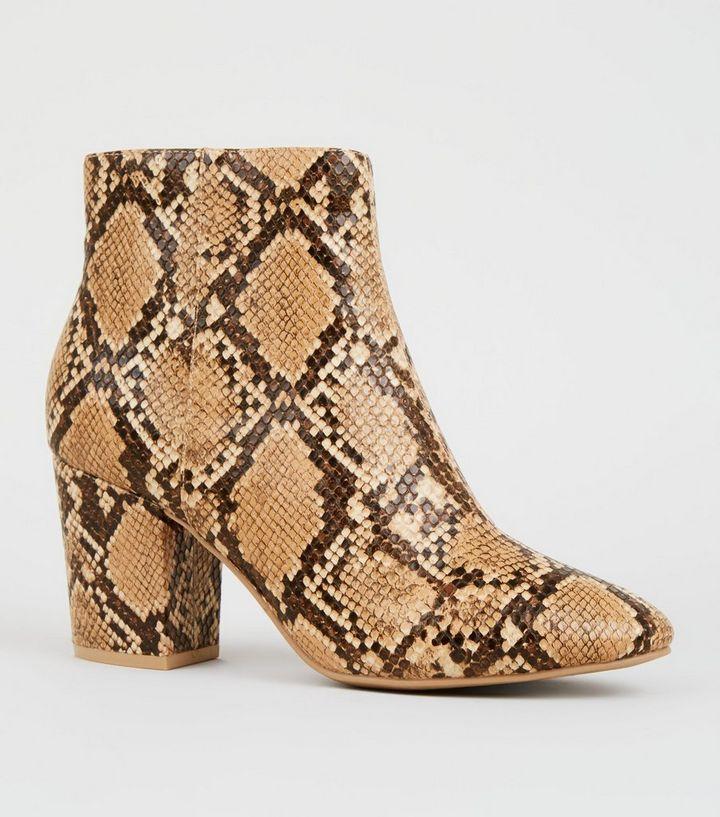 043ffe2458e9 Brown Snake Print Block Heel Boots | New Look
