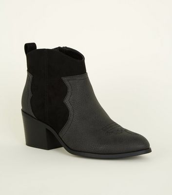 Girls Black Faux Croc and Suedette Western Boot