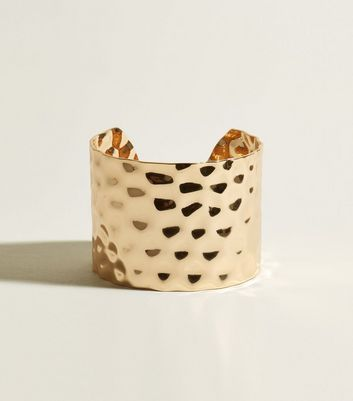Gold Beaten Wide Cuff Bracelet