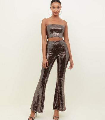 Bronze Mirrored Sequin Flared Trousers