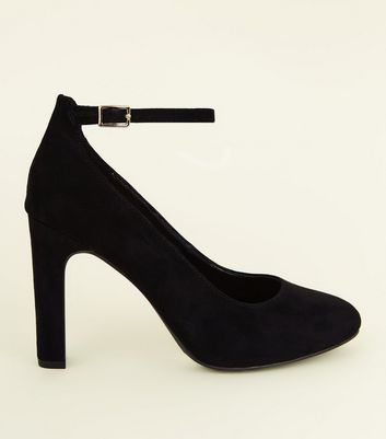 Wide Fit Black Round Toe Ankle Strap Courts