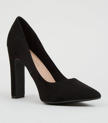 Wide Fit Black Suedette Slim Block Courts
