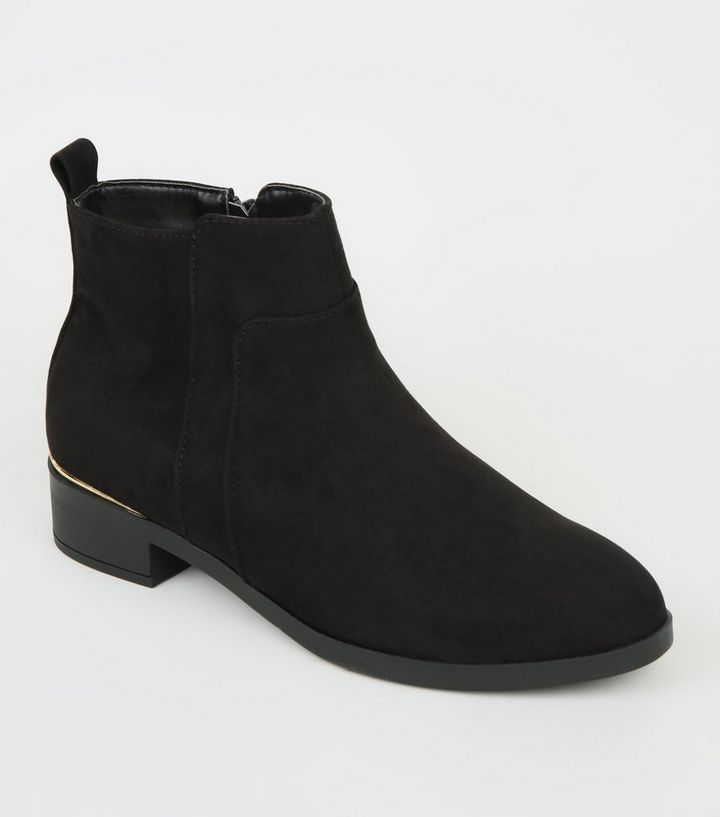 5a013131ed53 Girls Black Suedette Metal Trim Ankle Boots