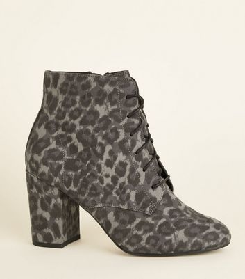 Wide Fit Grey Leopard Print Lace Up Boots