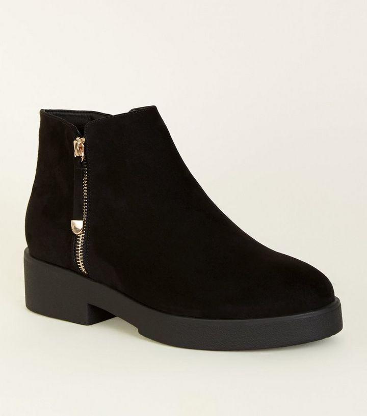 524217ec06260b Wide Fit – Schwarze Ankle Boots mit dicker Sohle