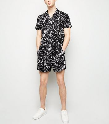 Black Scribble Print Short Sleeve Shirt