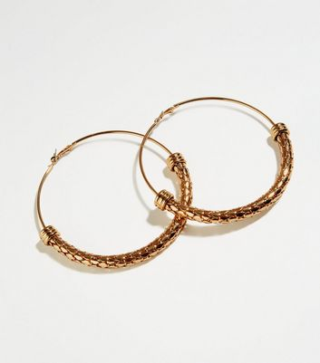 Gold Snake-Textured Oversized Hoop Earrings