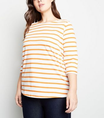 Curves Orange Stripe Pocket Front T-Shirt
