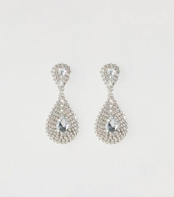 Silver Cupchain Teardrop Chandelier Earrings
