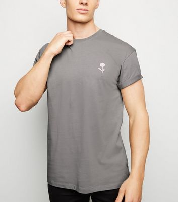 Pale Grey Embroidered Rose T-Shirt
