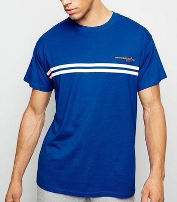 Bright Blue Stripe Archive Embroidered T-Shirt