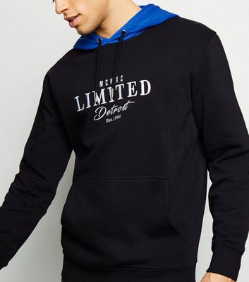 Black Limited Embroidered Slogan Hoodie
