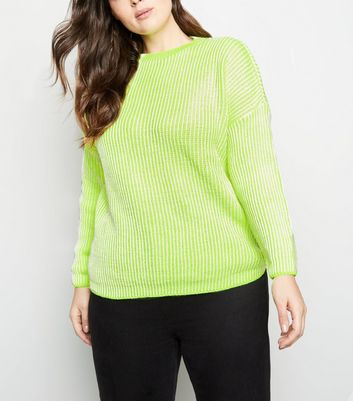 Curves Yellow Neon Slouchy Jumper