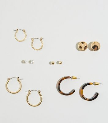 6 Pack Gold Animal Print Stud and Hoop Earrings