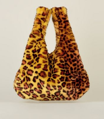 Yellow Faux Leopard Fur Pouch Bag